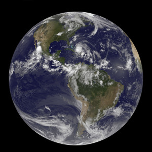 August 24, 2011 - Satellite view of the Full Earth with Hurricane Irene visible over the Bahamas.